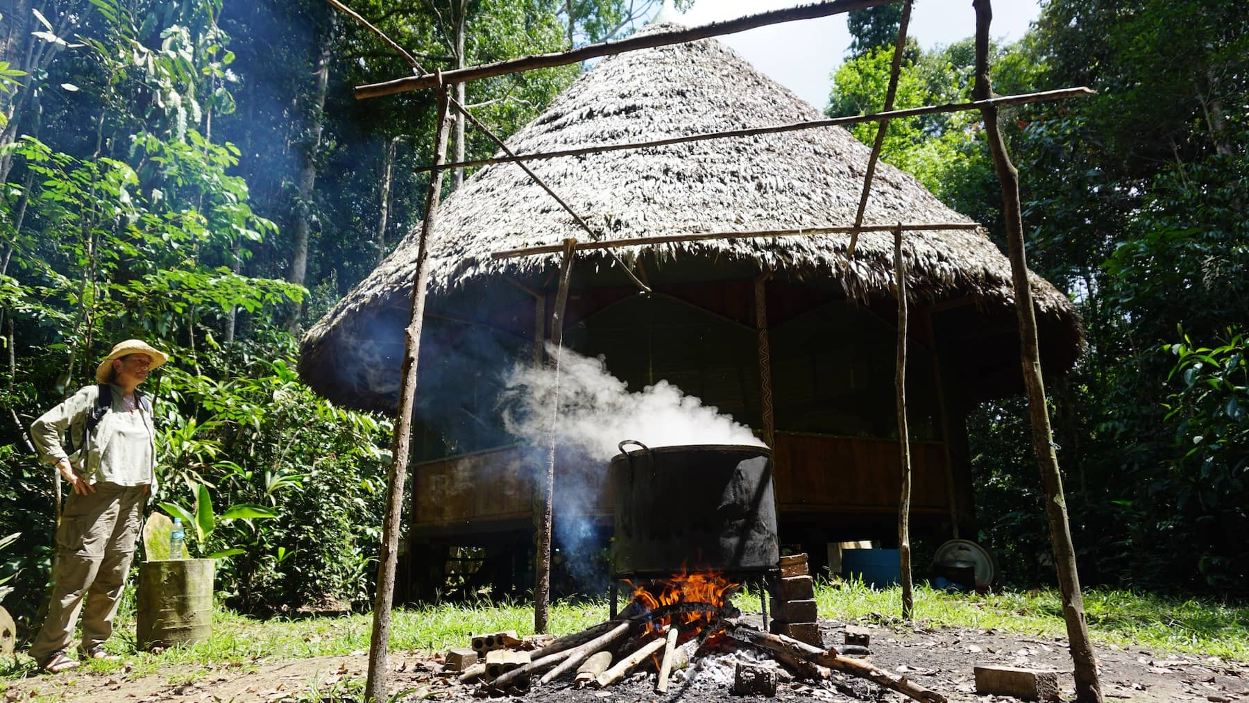 Boiling ayahuasca brew at Rainforest Healing Center