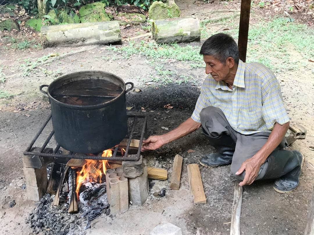 don joel making ayahuasca medicine at Rainforest Healing Center